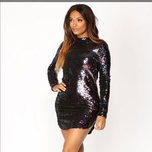 9e25b06668 Fashion Nova Dresses - Iridescent Sequins keyhole mock neck dress